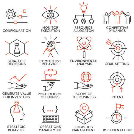 Illustration pour Vector set of 16 icons related to business management, strategy, career progress and business process. Mono line pictograms and infographics design elements - image libre de droit