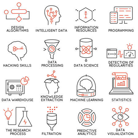 Ilustración de Vector set of 16 icons related to business and data management, analytic service and data science. Mono line pictograms and infographics design elements - part 2 - Imagen libre de derechos