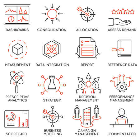 Illustration pour set of 16 icons related to business management, strategy, career progress and business process. Mono line pictograms and infographics design elements - image libre de droit