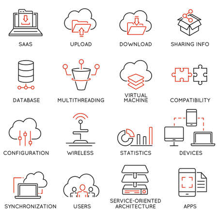 Illustration pour Set of 16 modern thin line icons related to cloud computing service and data storage - image libre de droit