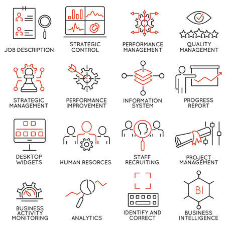 Illustration pour Set of 16 Modern Thin Line Icons Related to Strategy Management System and Balanced Scorecard - image libre de droit