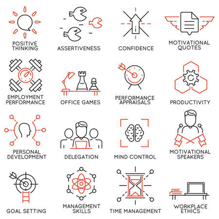 Illustration pour Vector set of 16 linear thin icons related to striving for success, leadership development, career progress and personal training. Mono line pictograms and infographics design elements - part 7 - image libre de droit