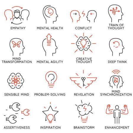 Ilustración de Vector set of 16 linear thin icons related to striving for success, leadership development, career progress and personal training. Mono line pictograms and infographics design elements - part 8 - Imagen libre de derechos