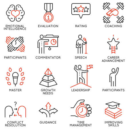 Illustration pour Vector set icons related to career progress, corporate management, business people training and professional consulting service. Mono line pictograms and infographics design elements - part 3 - image libre de droit