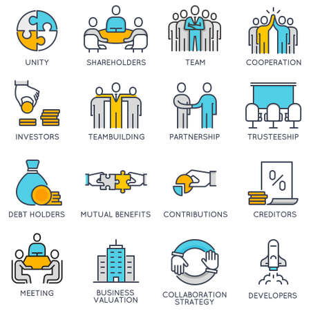 Ilustración de Vector flat linear icons related to business process, team work and human resource management. Flat pictograms and infographics design elements - Imagen libre de derechos