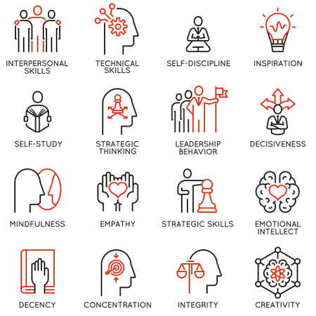 Ilustración de Vector set of linear icons related to skills, empowerment leadership development and qualities of a leader. Mono line pictograms and infographics design elements - Imagen libre de derechos