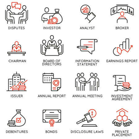 Illustration pour Vector set of linear icons related to business process, team work, human resource management and stakeholders. Mono line pictograms and infographics design elements - image libre de droit