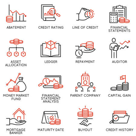 Ilustración de Vector set of linear icons related to investment, financial advice and business management. Mono line pictograms and infographics design elements - part 1 - Imagen libre de derechos