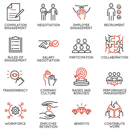 Illustration pour Vector set of linear icons related to engagement employee. Mono line pictograms and infographics design elements  - image libre de droit