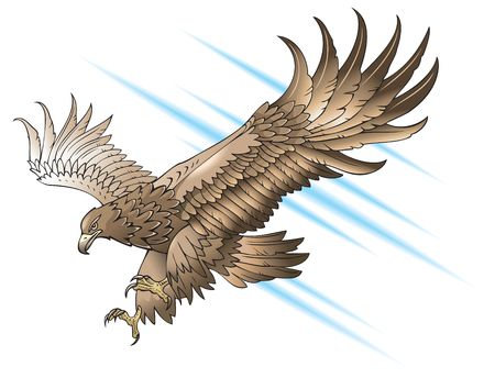 Illustration pour Eagle with large wings, swooping or attacking, gradient fill - image libre de droit