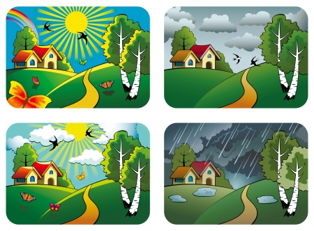 Set of different weather landscapes: sunny, cloudy, overcast and rainy,