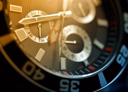 Man watch, chronograph close up