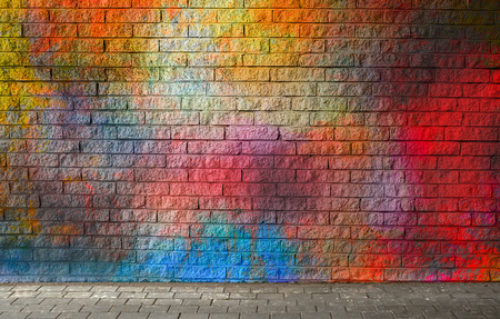 Photo pour Colorful brick wall background - image libre de droit