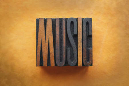 Photo for The word MUSIC written in vintage letterpress type. - Royalty Free Image