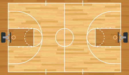 A realistic vector hardwood textured basketball court.