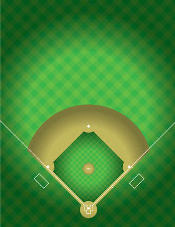 Illustration pour A vector illustration of the arial view of a baseball field. EPS 10. File contains transparencies. - image libre de droit