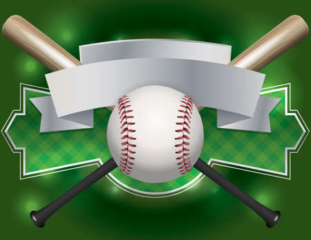 Illustration pour An illustration of a baseball and bat emblem and banner. - image libre de droit