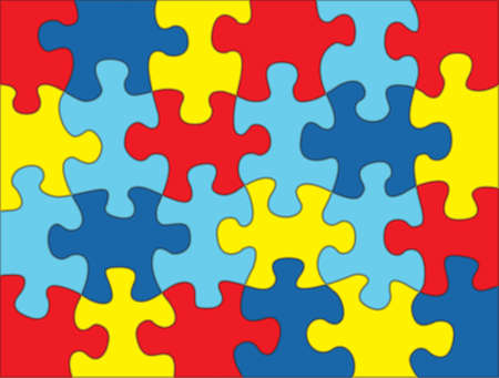 Photo for A colorful autism awareness puzzle background illustration. Vector EPS 10 available. - Royalty Free Image