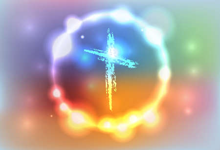 Illustration for An illustration of a hand drawn cross surrounded by an abstract glowing background. Vector EPS 10 available. EPS file contains transparencies and a gradient mesh. - Royalty Free Image