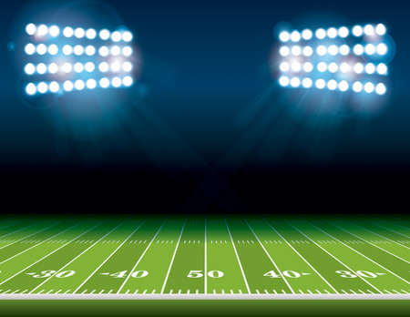 Illustration pour An illustration of an American Football field with bright stadium lights shining on it. Vector EPS 10 available. Room for copy. - image libre de droit