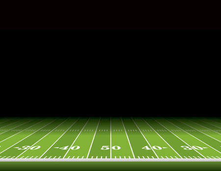 Illustration pour A view from the sideline of an American football field with room for copy. Vector EPS 10 illustration available. - image libre de droit