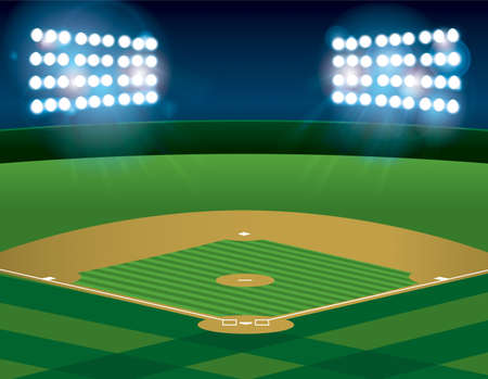 Illustration pour A baseball or softball field illuminated at night. Vecto .   file contains transparencies and gradient mesh. - image libre de droit