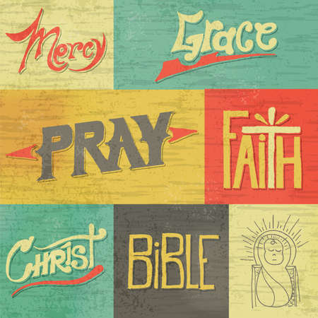 Ilustración de A set of vintage retro hand drawn images and words of Christian faith. Vector available. EPS file is layered and contains transparencies and a gradient mesh. - Imagen libre de derechos