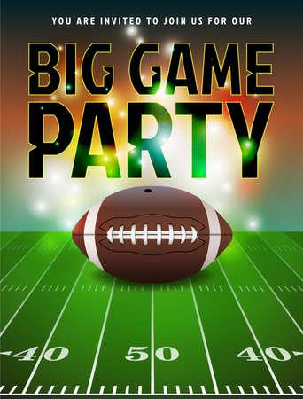 Ilustración de American football party invitation illustration.= - Imagen libre de derechos