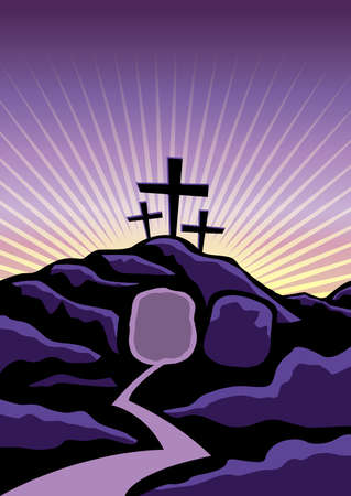 Illustration pour A Christian Easter background with empty tomb and crosses. Vector EPS 10 available. - image libre de droit