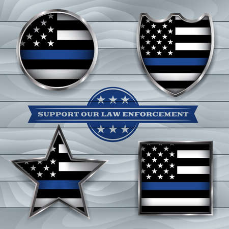 Illustration for American flag badges and emblems symbolic of support for law enforcement. Vector EPS 10 available. - Royalty Free Image