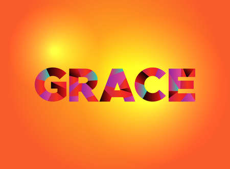 Ilustración de The word GRACE written in colorful fragmented word art. - Imagen libre de derechos