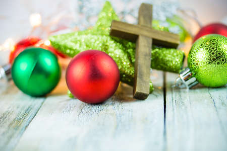 Photo for A holy Christian cross and Christmas holiday theme background. - Royalty Free Image