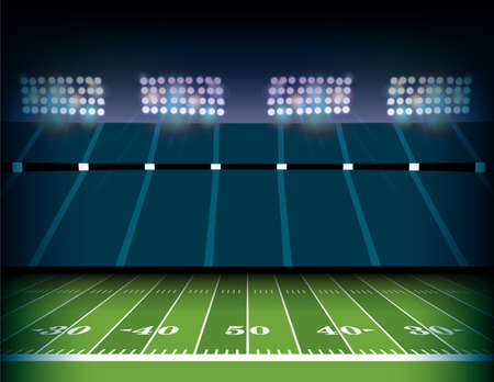Illustration pour An American football field and stadium background illustration. - image libre de droit