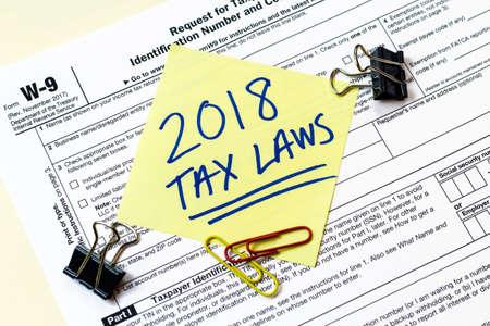 Photo pour A 2018 Federal income tax laws W9 form. - image libre de droit