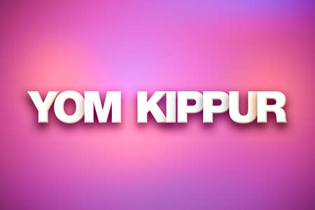 Photo for The words Yom Kippur concept written in white type on a colorful background. - Royalty Free Image