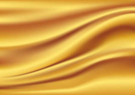 Golden satin, silk, waves. Yellow background illustration