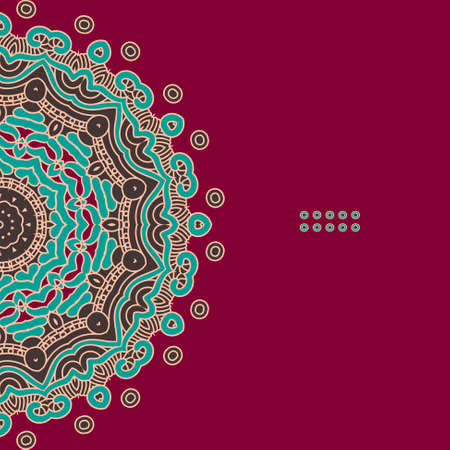 Illustration for Colorful Round Ornamental Pattern, Greeting Card Template Design - Royalty Free Image