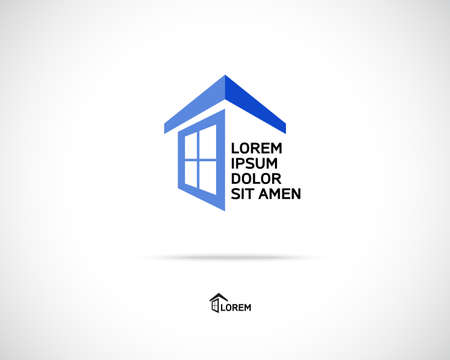 Ilustración de House Abstract Real Estate Countryside Logo Design Template for Company. Building Vector Silhouette. - Imagen libre de derechos