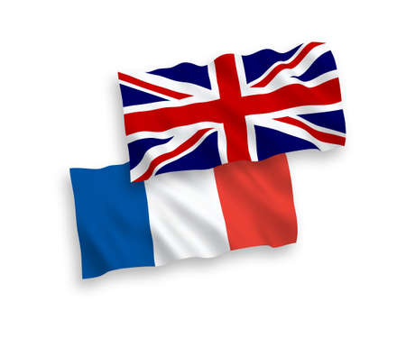 Illustration pour National vector fabric wave flags of France and Great Britain isolated on white background. - image libre de droit