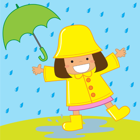 Kid playing in the rain with rain coat and umbrella vector stock