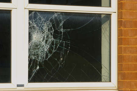 Photo for Crime scene - close up of a broken window - Royalty Free Image