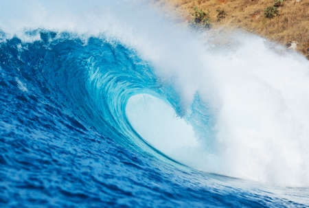 Photo for Blue Ocean Wave, View from in the Water a Surfers Perspective - Royalty Free Image