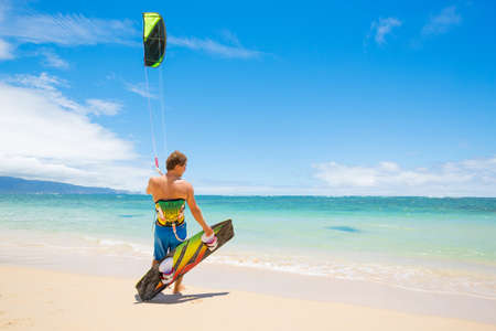 Kiteboarder on Beautiful Beach