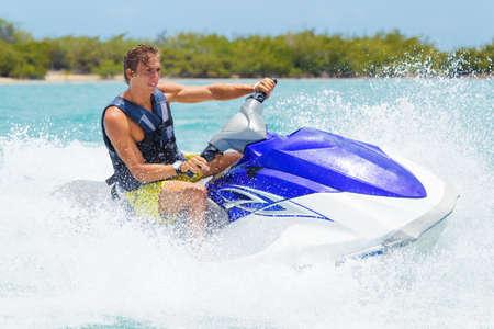 Photo for Man on Jet Ski having fun in Ocean - Royalty Free Image
