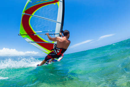 Photo pour Windsurfing, Fun in the ocean, Extreme Sport - image libre de droit