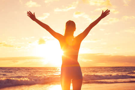 Photo for Free happy woman open arms at sunset - Royalty Free Image