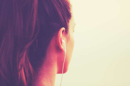 Photo pour Active Sports Lifestyle with Modern Technology. Young fitness woman listening to music - image libre de droit