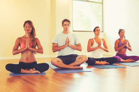 Photo pour Group of People Relaxing and Meditating in Yoga Class. Wellness and Healthy Lifestyle. - image libre de droit