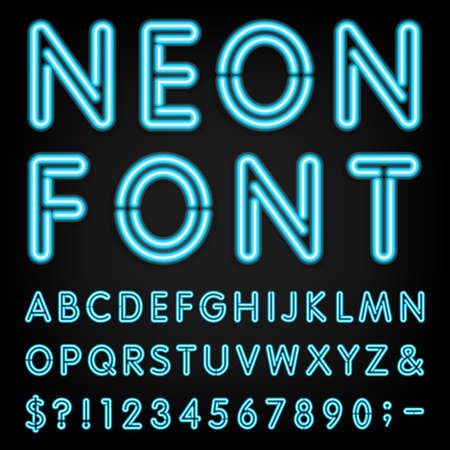 Photo for Neon Light Alphabet Font.  - Royalty Free Image