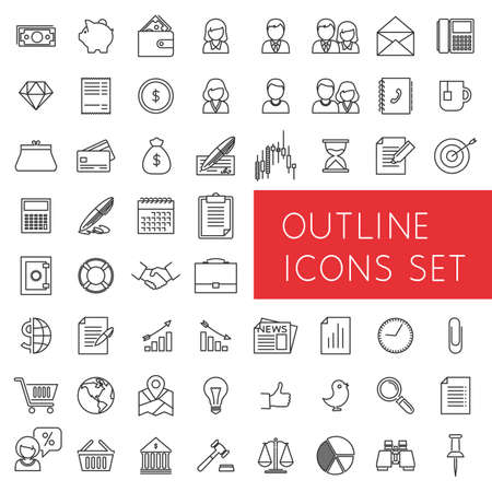 Ilustración de Outline icons set for web and applications.  - Imagen libre de derechos